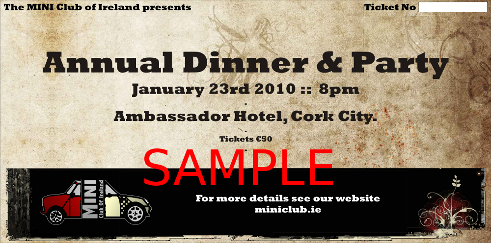 Sample ticket for the MCOI Party in the Ambassador Hotel, Cork